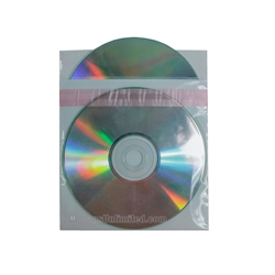 Double Pocket CD Sleeve with white poly separator. 1'' RESEALABLE flap.