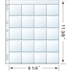 20 Pocket/ SLIDE PAGES for 3-Ring Binders. Polypropylene 4.0 gauge.