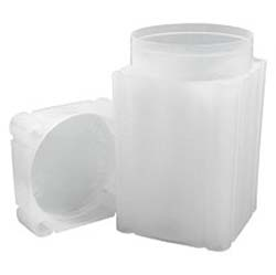 Coin Tubes. SQUARE. Translucent polypropylene.