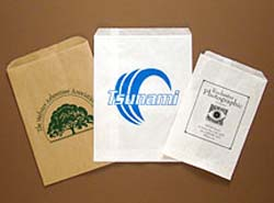 PRINTED Paper Bag. White Kraft. FLAT.<br> Printed 1 Color/ 1 Side.