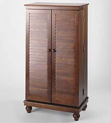 Wood Multimedia Display Cabinets - Louvered Doors.<br>Holds 612 CDs, 298 DVDs or 172 VHS Tapes.