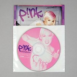 "Double Pocket CD Sleeve with white poly separator. 1"" flap. NO TAPE."