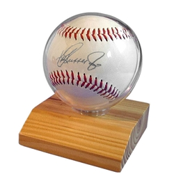 BASEBALL HOLDERS -Acrylic GLOBE with Blonde Wood Base.