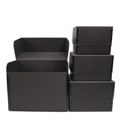 Flip-Top PHOTO BOXES - Acid Free. 40 pt. Black Barrier Board