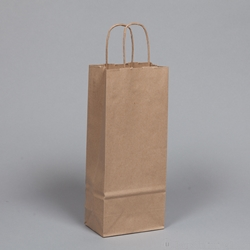 Paper WINE BAGS with rope handles.<br> Kraft paper. 5-1/4 x 3-1/2 x 13.