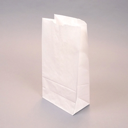SOS White Paper Bags - flat bottom