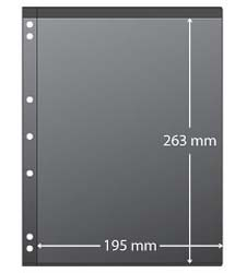 Stamp 3-Ring Binder Pages - Clear with BLACK VINYL CENTER.