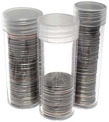 Coin Tubes. Crystal clear acrylic. 50 Tubes per box.