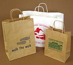 PRINTED Gift Bags. White Kraft Paper. <br> Printed 1 color/ 1 side.