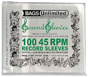 45rpm Record Clear Poly Sleeves