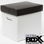 "<b>ULTRA BOXX®</b> <font color=""red"">PLASTIC Corrugated</font><br><b><font color=2E4053 > 12"" Vinyl Record Storage Box.</font></b><br> 13 x 13 x 10-1/2"". <br> Holds 50-65 Records."