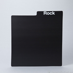 Plastic Record Divider Card- Black. PRINTED with MUSIC GENRES.