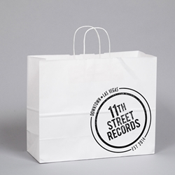 PRINTED Gift Bags. White Kraft Paper.  Printed 1 color/ 1 side.