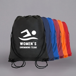 "PRINTED Nylon Drawstring Bag. 18 x 14-3/4""."