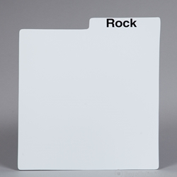 Record Divider Card- White. PRINTED with MUSIC GENRES.