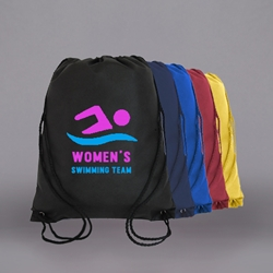 "PRINTED Nylon Drawstring Bag. 13-1/2 x 15-1/2""."
