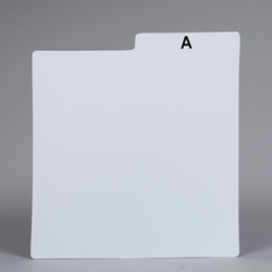 Record Divider Card- White. PRINTED WITH ALPHABET.