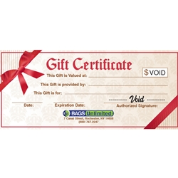 Bags Unlimited Gift Certificate
