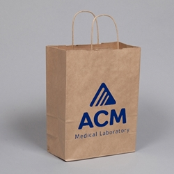 "PRINTED Gift Bags. Natural Kraft Paper. Printed 1 color / 1 side. Bag comes with rope handles. Printable area is 7 x 6""."