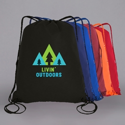 "PRINTED Nylon Drawstring Bag. 16 x 19-1/2"" ."