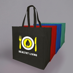 "PRINTED Nylon Grocery Bag. 16 x 16 x 8"" ."