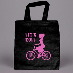 PRINTED 6 oz. Cotton Tote - BLACK.