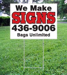 "Plastic Corrugated YARD SIGN - 18  x 24"" with ""H"" frame"