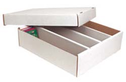 White Corrugated Trading Card Two-piece Box - Holds 3200 Cards